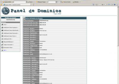 Información general panel de dominio espaciowww