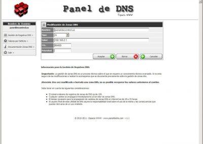 Modificación de las Zonas DNS en el panel de DNS