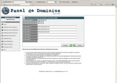 Modificar datos de los servidores de nombre Dns