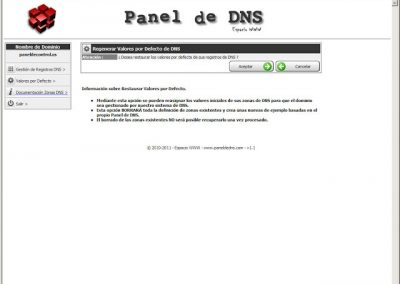 Restaurar valores por defecto panel de dns