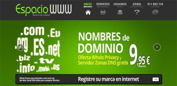registra tu dominio en espaciowww