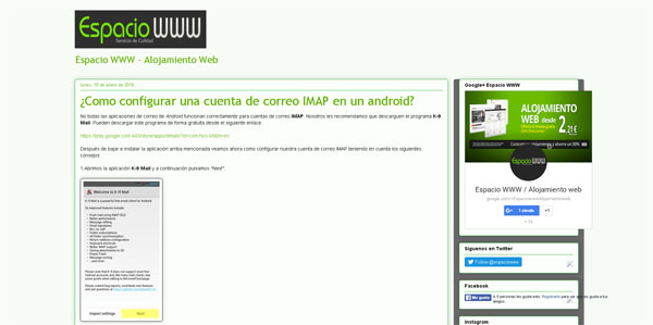 ayuda para configurar correo IMAP en android - por espaciowww