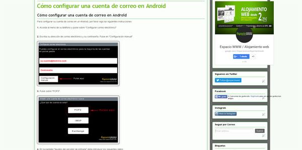 Cómo configurar correo pop2 en Android - espaciowww