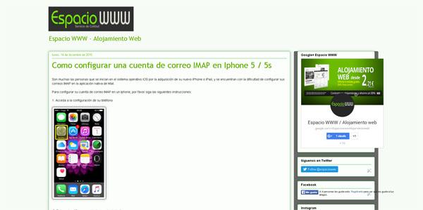 configurar cuenta de correo IMAP en Iphone 5 -5s espaciowww