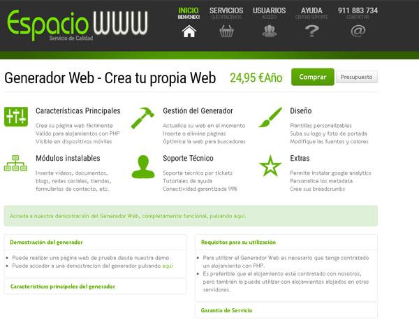 crea tu web con el Generador Web de espaciowww