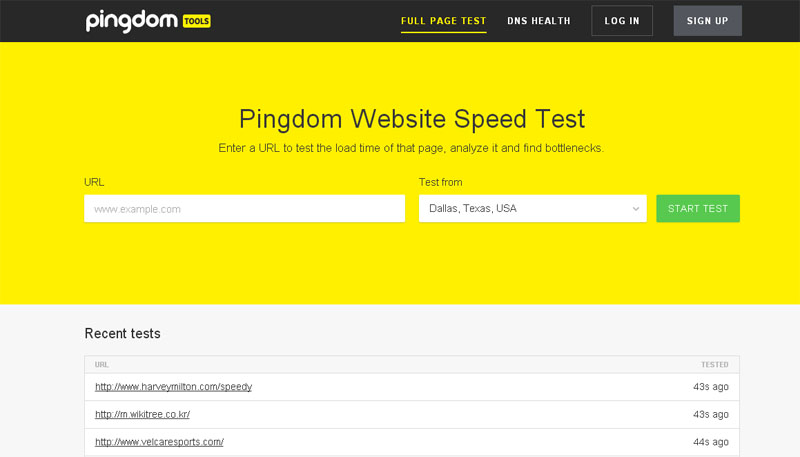 Website speed test - pingdom