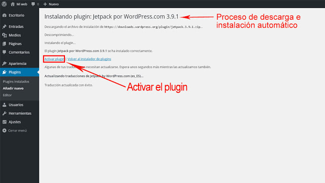 activación plugin de WordPress