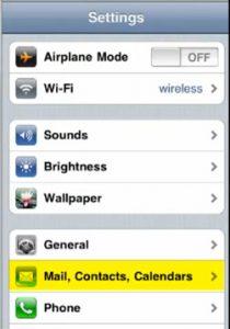Configurar correo iphone 4 - paso 1