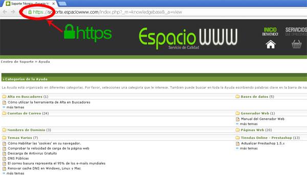 sitio seguro con acceso https con ssl espaciowww