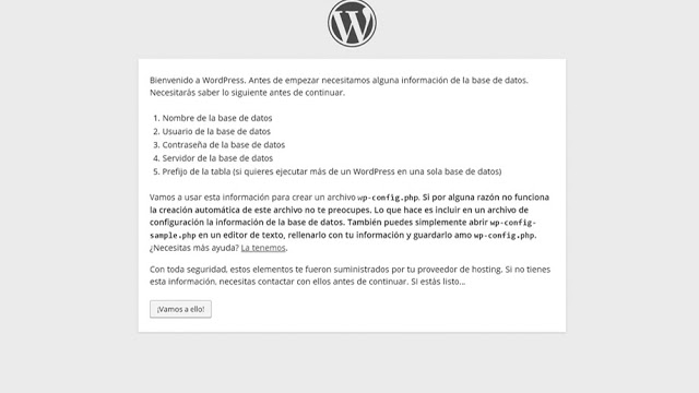Proceso de instalación wordpress