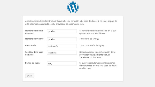 conectar wordpress con la base de datos creada