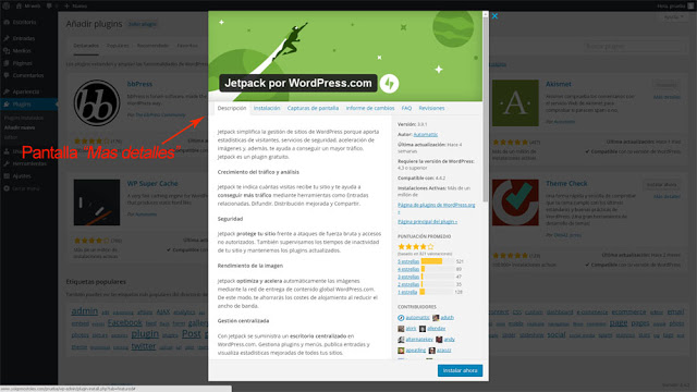 ver detalles plugin WordPress