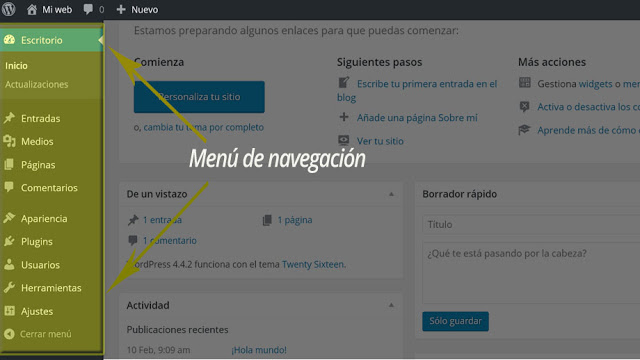 WordPress - Administración WordPress, Barra de Herramientas WordPress