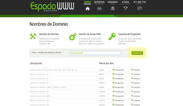 comprobar disponibilidad dominio espaciowww.com