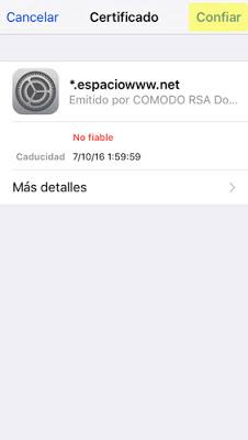configurar cuenta de correo IMAP Iphone 5 / 5s - paso 11
