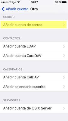configurar cuenta de correo IMAP Iphone 5 / 5s - paso 5