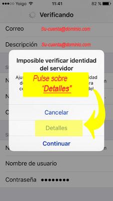 configurar cuenta de correo IMAP Iphone 5 / 5s - paso 10