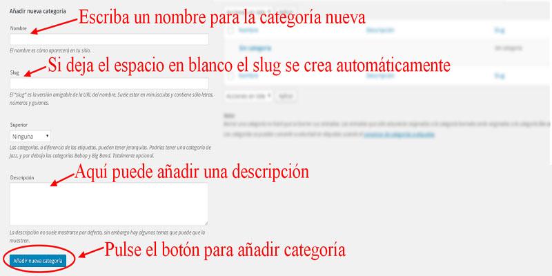 añadir categorías wordpress