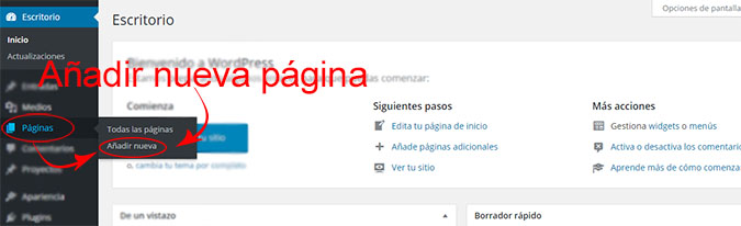 añadir paginas en wordpress