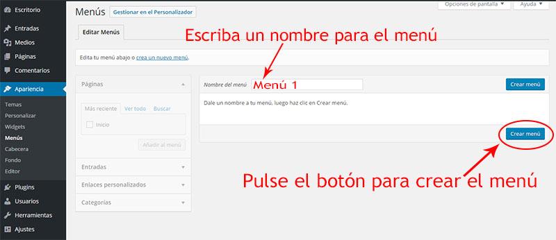 crear menú de navegación en wordpress -paso1