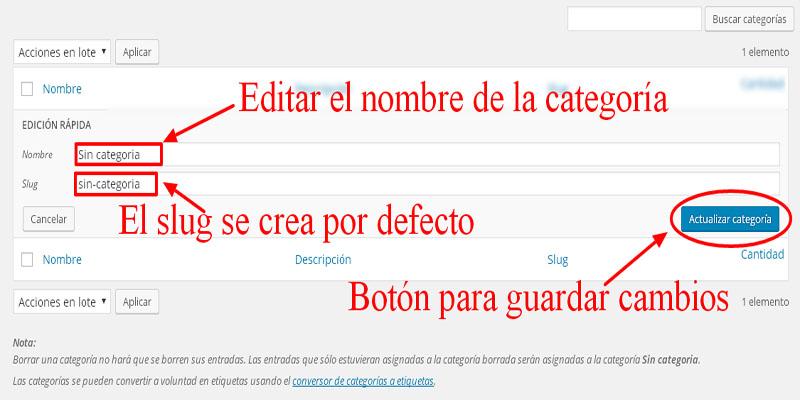 editar y actualizar categorías wordpress