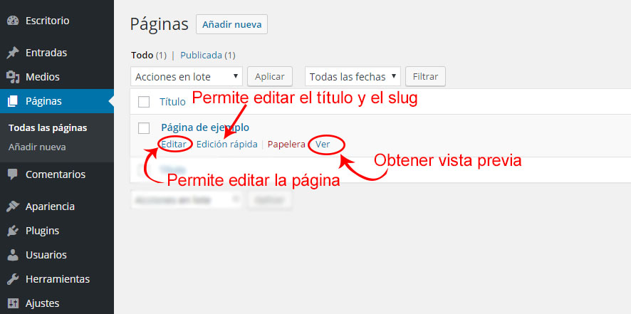 editar, modificar paginas en wordpress