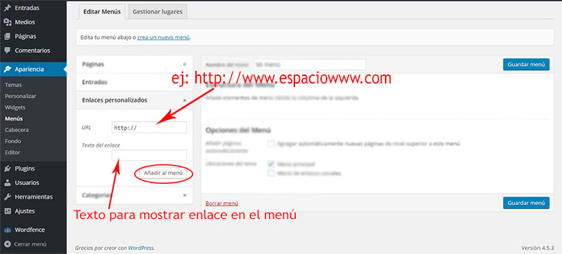 añadir enlaces al menú en wordpress