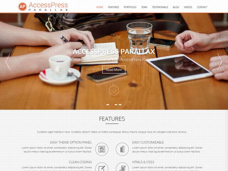 tema multipropósito de diseño parallax wordpress access pressparallax
