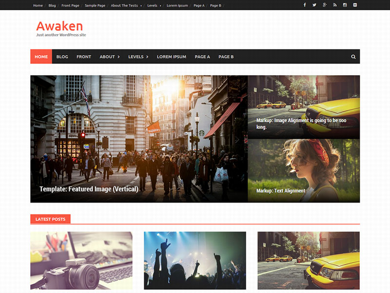 tema para blog en wordpress diseño revista - awaken