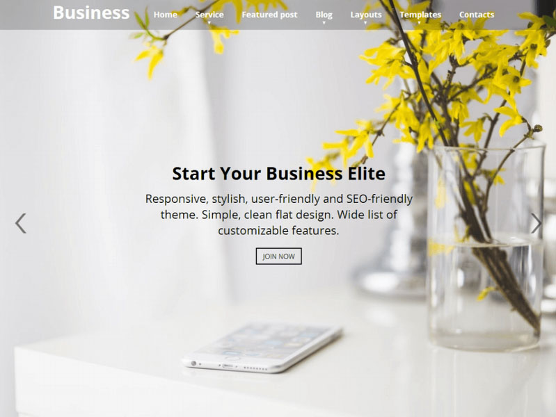 tema para diseño web responsive y sencillo en wordpress - business elite