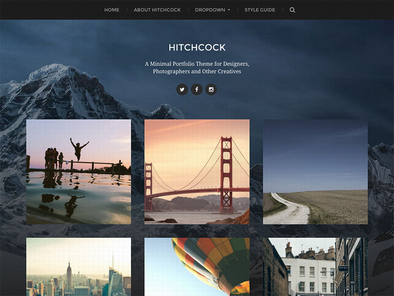 tema diseño web portafolio minimalista wordpress - hitchcock