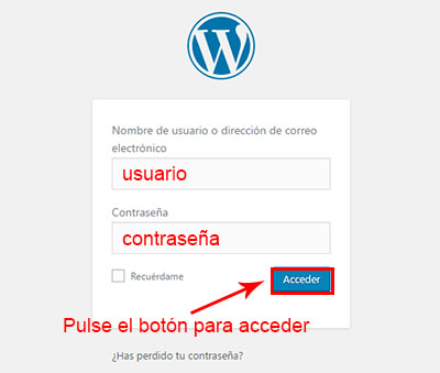 acceder a wordpress para migrar blog de blogger