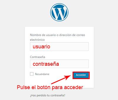 acceder a wordpress para migrar blog de blogger