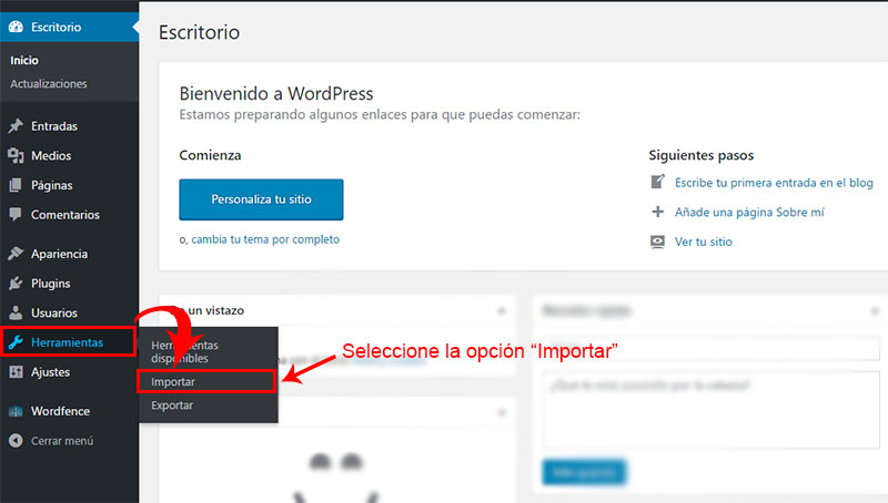 como migrar blog de blogger a wordpress paso 2