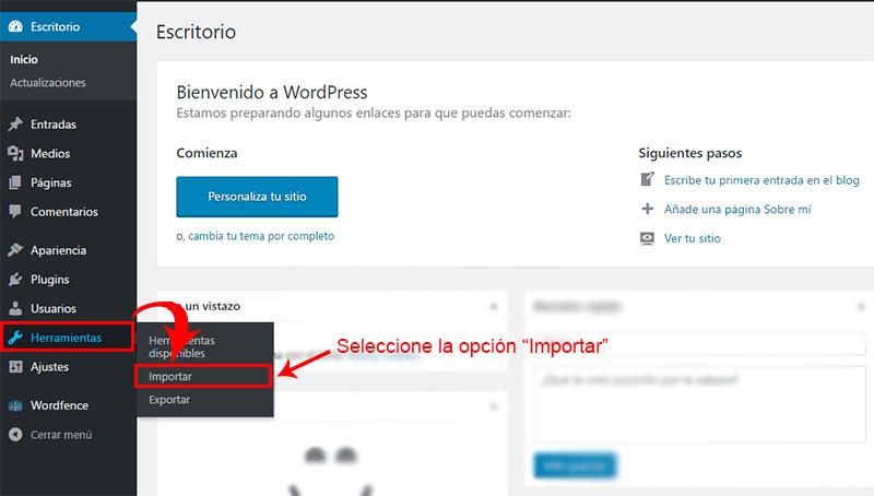 como migrar blog de blogger a wordpress paso 2