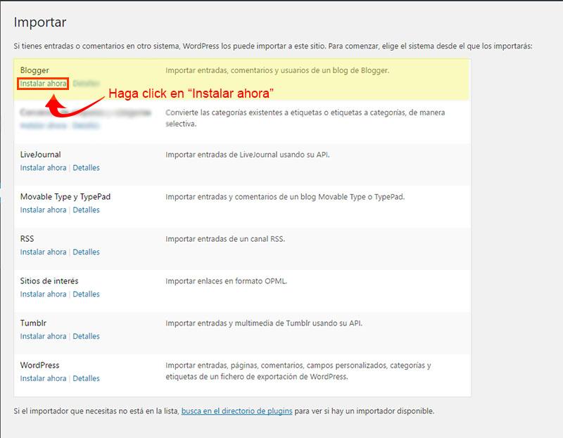 comenzar importar contenido de blogger a wordpress