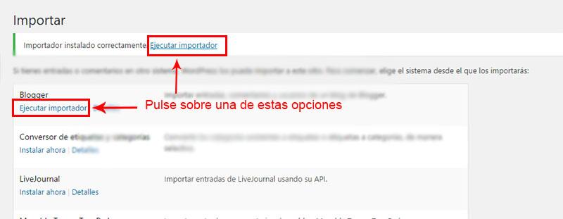 ejecutar importación del contenido de blogger a wordpress
