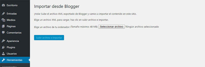 importador de blogger a wordpress