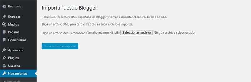 importador de blogger a wordpress