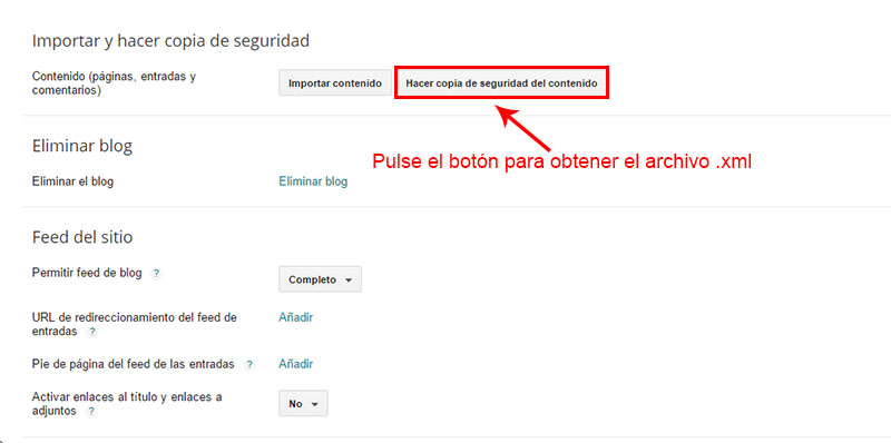 copia de seguridad antes de migrar a wordpress