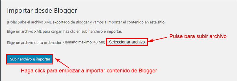 subir e importar el contenido de blogger a wordpress