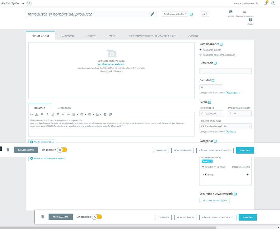 pagina de creación de productos prestashop 1.7