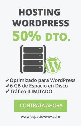 Alojamiento WordPress con 6 GB de espacio en disco, tráfico ILIMITADO 50% descuento