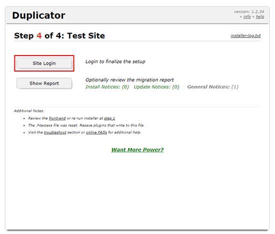 ejecutar instalador duplicator - paso 5