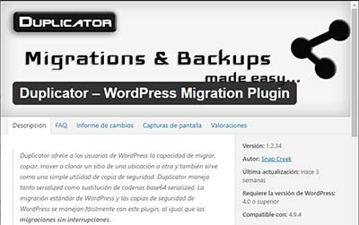 Duplicator plugin para migrar wordpress de un hosting a otro